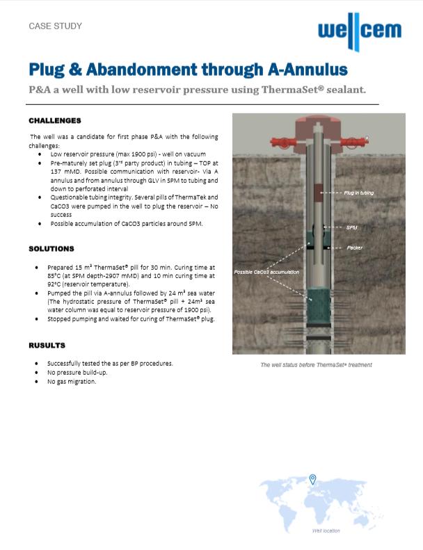 Wellcem Case Study - Plug & Abandonment through A-Annulus