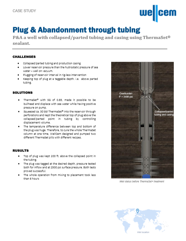 Wellcem Case Study - Plug & Abandonment through tubing - Norwegian Sector of The North Sea