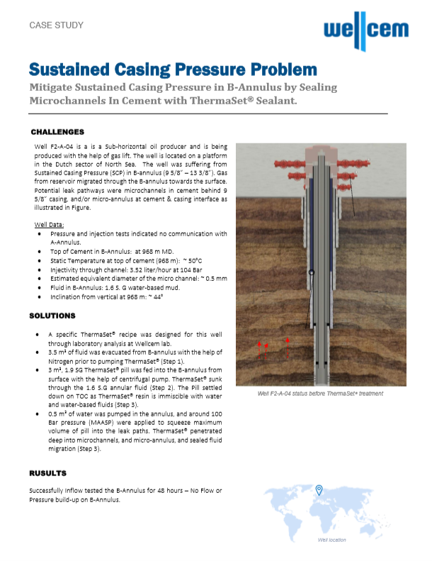 Wellcem Case Study - Sustained Casing Pressure Problem in B-Annulus - Dutch Sector of The North Sea